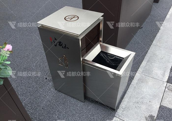 户外环卫不锈钢垃圾桶T-18182