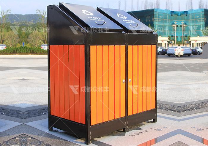 户外钢木环卫垃圾桶T-18179